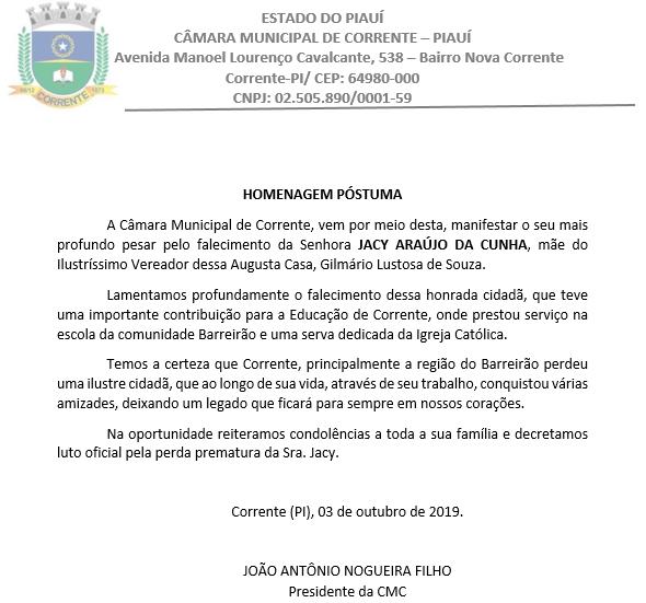 Câmara emite nota de pesar pela morte da mãe do vereador Gilmário Lustosa